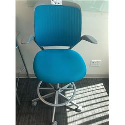 STEELCASE BLUE ERGONOMIC BAR HEIGHT OFFICE STOOL