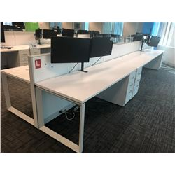 STEELCASE TURNSTONE WHITE WITH GLASS PANEL 7 PERSON OFFICE CUBICLE WITH FILE PEDESTALS