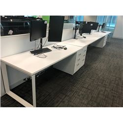 STEELCASE TURNSTONE WHITE WITH GLASS PANEL 6 PERSON OFFICE CUBICLE WITH FILE PEDESTALS