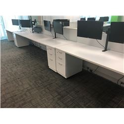 STEELCASE TURNSTONE WHITE WITH GLASS PANEL 4 PERSON OFFICE CUBICLE WITH FILE PEDESTALS