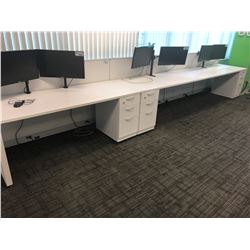 STEELCASE TURNSTONE WHITE WITH GLASS PANEL 3 PERSON OFFICE CUBICLE WITH FILE PEDESTALS