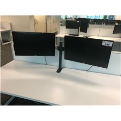 """DESK MOUNT FULLY ADJUSTABLE DOUBLE MONITOR STAND WITH 2 ASUS 24"""" ROTATING MONITORS"""