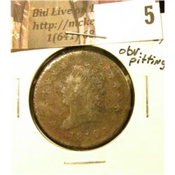 1810 U.S. Large Cent, Fine details, obverse pitting.