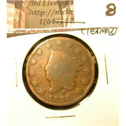 1822 U.S. Large Cent, Good, cleaned.
