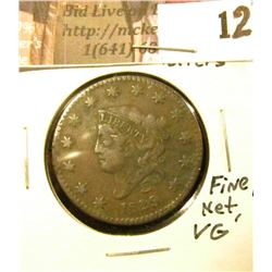 1829 U.S. Large Cent, medium letters, Fine, Lite corrosion, net VG.
