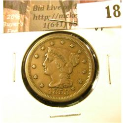 1853 U.S. Large Cent, VF.