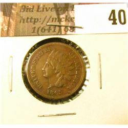 1865 U.S. Indian Head Cent, Fancy 5, EF.