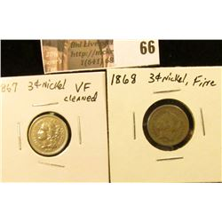 (2) Three Cent Nickels: 1867 VF cleaned & 1868 Fine.