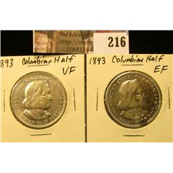 (2) 1893 VF-EF Columbian Exposition Commemorative Half Dollars.
