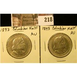 (2) 1893 AU Columbian Exposition Commemorative Half Dollars.