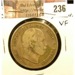 1876 C Prussia Silver Five Marks, digs on obverse, VF.