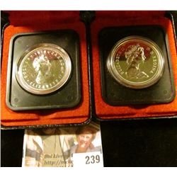 Two Canada Dollars in original cases, 1976 & 1978, Both Silver.