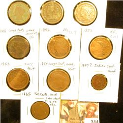 U.S. Cull Lot: (8) Large Cents, Indian Cent, and Two Cent Piece.