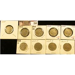 1918P, 19P, 20P, 23P, 26P, 27P, 28P, 29D, & 35P Buffalo Nickels. All carded.