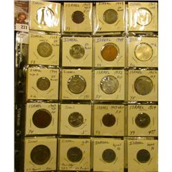 Plastic page with (20) various denomination Israel Coins, most of which are high grade. They are all