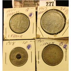 French Coins: 1918 Ten Centimes, 1947 Two Francs, 1915 & 1944 One Franc.