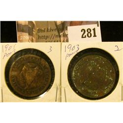 1901 & 1903 Canada Large Cents.