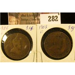 1906 & 1908 Canada Large Cents, Fine condition.