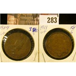 1909 & 1911 Canada Large Cents, VF.