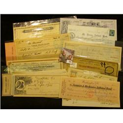 """(20) Different Old Checks dating back to 1870. Includes some rarities such as """"Kalona Savings Bank"""";"""