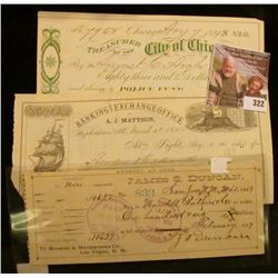 """1874 """"Treasurer of the City of Chicago"""" Check signed by the Mayor of Chicago; 1857 Check """"Banking an"""