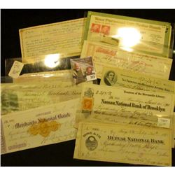 """Postal History & Old Check lot dating back to 1873. Includes 1904 Woodland, Cal. """"Farmer & Merchants"""
