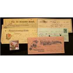 """Old Check lot dating back to 1878. Includes 1878 """"Mt. Vernon National Bank, Boston, Mass."""" with blue"""