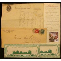 """Group of Banking, Postal, and Land History Memorabilia. Includes a letter on letter head from """"The F"""