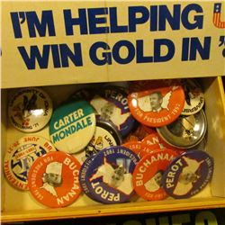"""Group of Political Bumper Stickers; """"Van Dyck"""" Cigar Box; & a large group of Pin-backs, most of whic"""