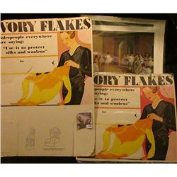 """1975 Art Auction Poster, a couple old Prints; & a Pair of """"Ivory Flakes"""" advertising posters."""