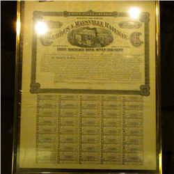 """1877 matted and framed """"United States of America State of Ohio Columbus & Maysville Railway Southern"""