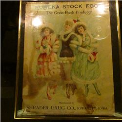 """Framed and matted Advertising poster """"Eureka Stock Food The Great Flesh Producer Manufactured by Shr"""