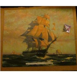 """15 3/4"""" x 19 5/8"""" Print """"1797 Old Ironsides U.S. Frigate Constitution 1927"""" attached to cardboard ba"""