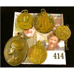 (5) Religious pendants / charms, all brass