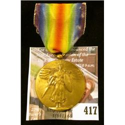 """WWI era Victory Medal with ribbon – """"The Great War for Civilization"""""""