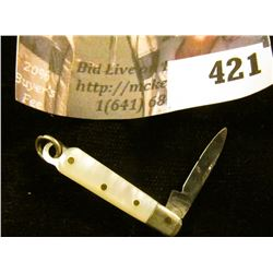 """Miniature pocket knife with mother of pearl handle, blade marked GERMANY, total length 2"""", blade len"""