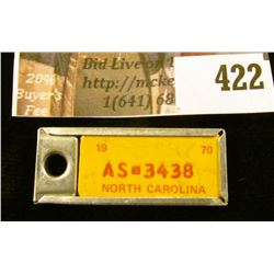 Vintage miniature license plate key tag – 1970 NC # AS-3438, made by Disabled American Veterans, Cin
