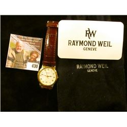 Raymond Weil wristwatch, style 5531WR, with factory service card from 2003. Runs, keeps time, in Ray