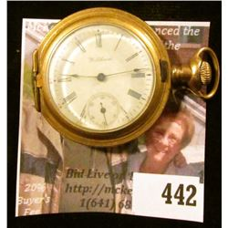 """Waltham 7 jewels """"Seaside"""" pocket watch, estimated production date 1900, Missing front cover, rear c"""
