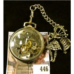 Vintage Girard-Perregaux & Co. Shell model skeleton pocket watch with Scottish bagpiper watch fob on