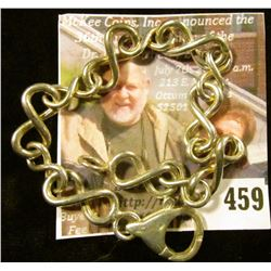 """8"""" Silver bracelet, Odd figure-8 style links with a LARGE, well-made lobster clasp. Marked 925 ITALY"""