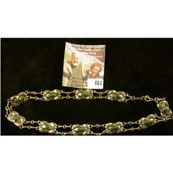 """16"""" silver and malachite neck choker chain. Odd link style with doubled chains between 10 links, The"""