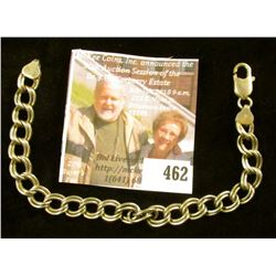 """8"""" double link sterling charm bracelet. Heavy and well made, 16 grams, marked 925"""