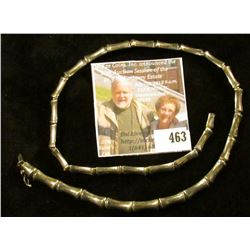 """18"""" silver Bamboo link (seriously, the links look like pieces of bamboo sections) necklace, marked 9"""