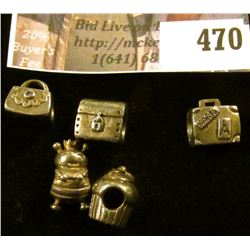 (5) Sterling Pandora charms – a purse, a suitcase, a steamer trunk chest, a cupcake, and a queen bee