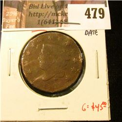 1821 Large Cent, scarce, low mintage, AG, clear date, G value $45