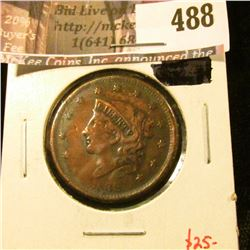 1838 Large Cent, F+, value $25