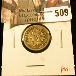 1861 Indian Head Cent, VG+, value $35