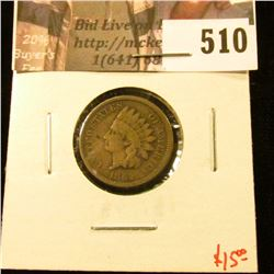 1862 Indian Head Cent, VG, value $15