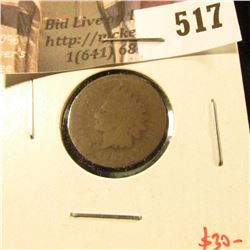 1867 Indian Head Cent, AG legible date, value $30